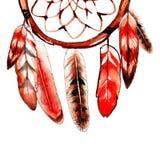 Κόκκινο catcher ονείρου σκίτσο watercolor Στοκ φωτογραφία με δικαίωμα ελεύθερης χρήσης
