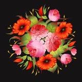Κόκκινο floral εκλεκτής ποιότητας σχέδιο στο μαύρο διάνυσμα Στοκ Φωτογραφία