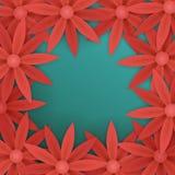 Κόκκινο floral πρότυπο εμβλημάτων πώλησης πλαισίων Στοκ Φωτογραφίες