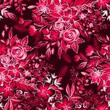 Κόκκινο floral σχέδιο με τα ditsy λουλούδια Στοκ Εικόνες