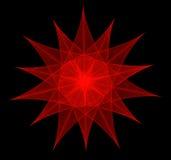 Κόκκινο fractal αστέρι-λουλουδιών διανυσματική απεικόνιση