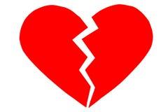 Κόκκινο heartbreak/σπασμένη καρδιά κλείστε επάνω μιας σπασμένης έγγραφο καρδιάς στοκ εικόνες