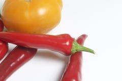 Κόκκινο juicy καυτό πιπέρι και κίτρινη ντομάτα στο άσπρο υπόβαθρο Στοκ Φωτογραφίες