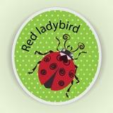 Κόκκινο Ladybug sticker διανυσματική απεικόνιση
