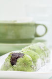 Κόκκινο mochi φασολιών γλυκών Στοκ Εικόνες