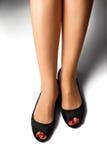 Κόκκινο pedicure&black παπούτσι-1 Στοκ εικόνα με δικαίωμα ελεύθερης χρήσης