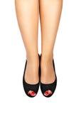 Κόκκινο pedicure&black παπούτσι-2 Στοκ φωτογραφίες με δικαίωμα ελεύθερης χρήσης