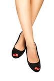 Κόκκινο pedicure&black παπούτσι-4 Στοκ Εικόνα