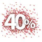 40 κόκκινο Percents Στοκ Εικόνα