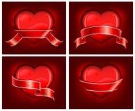 κόκκινο ribbom καρδιών Στοκ Φωτογραφίες