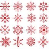 Κόκκινο Snowflakes σύνολο σκιαγραφιών Στοκ Φωτογραφία