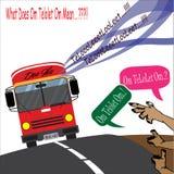 Κόκκινο telolet OM του OM λεωφορείων απεικόνιση αποθεμάτων
