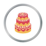 Κόκκινο three-ply εικονίδιο κέικ στο ύφος κινούμενων σχεδίων που απομονώνεται στο άσπρο υπόβαθρο Διανυσματική απεικόνιση αποθεμάτ Στοκ φωτογραφία με δικαίωμα ελεύθερης χρήσης