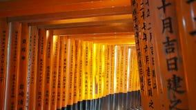 Κόκκινο torii πυλών στη λάρνακα ναών Fushimi Inari φιλμ μικρού μήκους