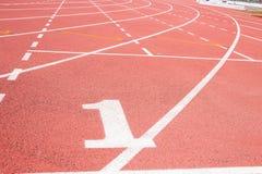 κόκκινο treadmill σταδίων Στοκ Φωτογραφία