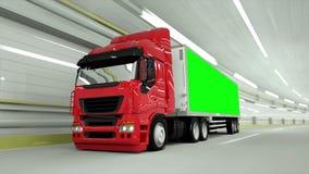 κόκκινο truckin μια σήραγγα να οδηγήσει γρήγορα Πράσινο μήκος σε πόδηα οθόνης απεικόνιση αποθεμάτων
