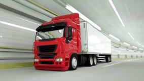 κόκκινο truckin μια σήραγγα να οδηγήσει γρήγορα τρισδιάστατη απόδοση διανυσματική απεικόνιση