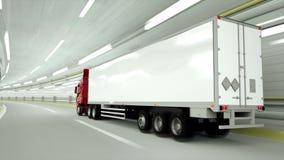 κόκκινο truckin μια σήραγγα να οδηγήσει γρήγορα τρισδιάστατη απόδοση απεικόνιση αποθεμάτων