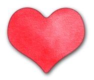 κόκκινο watercolor καρδιών Στοκ Εικόνα