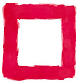 Κόκκινο Watercolor τετραγωνικό πλαισίων διάστημα αντιγράφων συνόρων άσπρο Στοκ Εικόνες