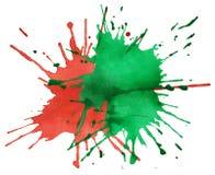 κόκκινο watercolor χρωμάτων λεκέδων πράσινο Στοκ Εικόνες