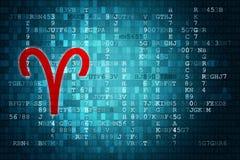 Κόκκινο Zodiac Aries σημάδι στο μπλε ψηφιακό υπόβαθρο διάστημα αντιγράφων Στοκ Εικόνα