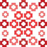 Κόκκινων τετραγώνων αφηρημένο υπόβαθρο σχεδίων σταυρών συμμετρικό διανυσματική απεικόνιση