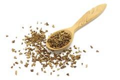 Κόκκοι του στιγμιαίου καφέ σε ένα ξύλινο κουτάλι στοκ εικόνα με δικαίωμα ελεύθερης χρήσης