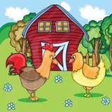 Κόκκορας και κοτόπουλα σε αγροτικό Στοκ Φωτογραφία