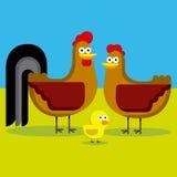 Κόκκορας, κότα και νεοσσός κινούμενων σχεδίων με το χρώμα Στοκ Εικόνες