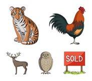 Κόκκορας, τίγρη, ελάφια, κουκουβάγια και άλλα ζώα Τα ζώα καθορισμένα τα εικονίδια συλλογής στο διανυσματικό απόθεμα συμβόλων ύφου Στοκ Εικόνα