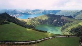 Κόλαση ` s Mouth Boca do Inferno - λίμνες στους ηφαιστειακούς κρατήρες Sete Cidades στο νησί SAN Miguel, Αζόρες απόθεμα βίντεο