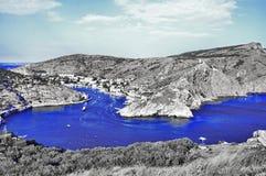 Κόλπος Balaklava στο μπλε κλειδί χρώματος στοκ φωτογραφία με δικαίωμα ελεύθερης χρήσης
