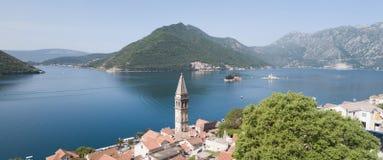 Κόλπος Kotorska Boka, άποψη από Perast Μαυροβούνιο Στοκ Φωτογραφίες