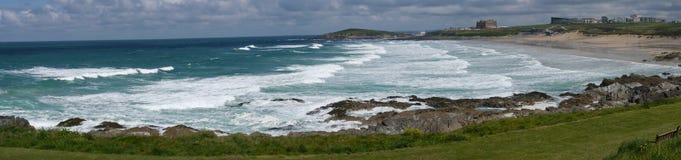 Κόλπος Newquay Fistral μια δημοφιλής παραλία surfers στην Κορνουάλλη UK στοκ εικόνες