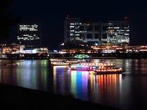 Κόλπος Odaiba τη νύχτα Στοκ Εικόνα