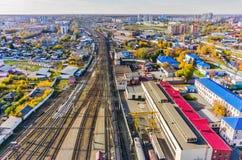 Κόμβος σιδηροδρόμων Voynovka Βιομηχανική περιοχή Tyumen Στοκ εικόνα με δικαίωμα ελεύθερης χρήσης