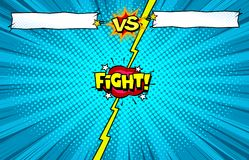 Κόμικς εναντίον του υποβάθρου προτύπων πάλης, εισαγωγή μάχης superhero απεικόνιση αποθεμάτων