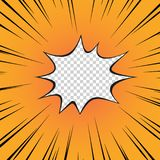 Κόμικς κίτρινο Η λάμψη της έκρηξης, η ακτινωτή γραμμή στο διαφανές απομονωμένο υπόβαθρο superhero διάνυσμα ελεύθερη απεικόνιση δικαιώματος