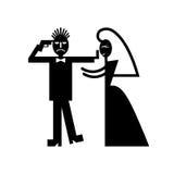 Κόμμα αγάμων με το γαμήλιο ζεύγος Στοκ Εικόνες