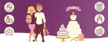 Κόμμα ημέρας γάμου για ακριβώς διανυσματική απεικόνιση εμβλημάτων παντρεμένων ζευγαριών την οριζόντια Νύφη που Γαμήλιες αγορές στοκ εικόνα με δικαίωμα ελεύθερης χρήσης