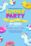 Κόμμα θερινών λιμνών, διανυσματική αφίσα, σχεδιάγραμμα εμβλημάτων Μονόκερος, φλαμίγκο, πάπια, σφαίρα, doughnut χαριτωμένα επιπλέο διανυσματική απεικόνιση