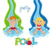 Κόμμα λιμνών παιδιών στο υπόβαθρο απεικόνιση αποθεμάτων