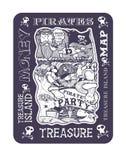 Κόμμα πειρατών, η εικόνα του χάρτη νησιών θησαυρών στοκ εικόνες