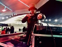 Κόμμα σκι Apres με το DJ σε saalbach-Hinterglemm Στοκ Εικόνες