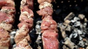 Κόμμα σχαρών Αρχιμάγειρας που μαγειρεύει το εύγευστο κρέας στην υπαίθρια σχάρα απόθεμα βίντεο