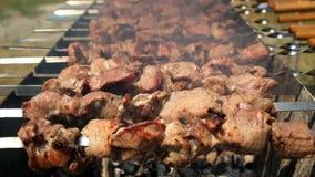 Κόμμα σχαρών Αρχιμάγειρας που μαγειρεύει το εύγευστο κρέας στην υπαίθρια σχάρα φιλμ μικρού μήκους