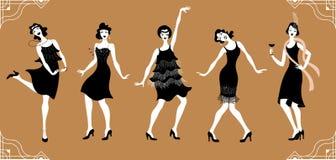 Κόμμα του Τσάρλεστον Επίπεδο gatsby σύνολο ύφους Ομάδα αναδρομικής γυναίκας χορεύοντας Τσάρλεστον κόκκινος τρύγος ύφους κρίνων απ απεικόνιση αποθεμάτων