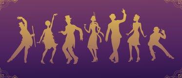 Κόμμα του Τσάρλεστον μαύρη χρυσή σκιαγραφία ανδρών και γυναικών κοστουμιών χορεύοντας Σύνολο ύφους Gatsby Ομάδα αναδρομικού ατόμο απεικόνιση αποθεμάτων