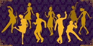 Κόμμα του Τσάρλεστον Σύνολο ύφους Gatsby Οι χρυσοί χορευτές σκιαγραφούν Ομάδα αναδρομικών γυναίκας και άνδρα χορεύοντας Τσάρλεστο απεικόνιση αποθεμάτων